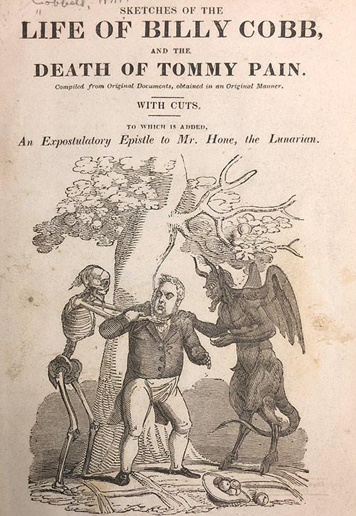 Pamphlet Cover with man being hung from a tree branch by a skeleton and a devil