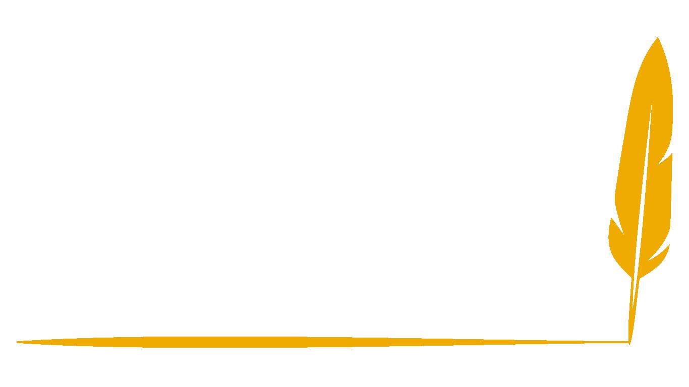 Gold quill that has left a golden underline